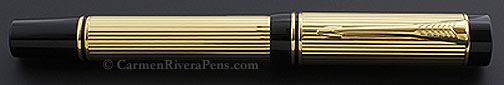 Parker Duofold Centennial Flat Top Godron Gold Fountain Pen