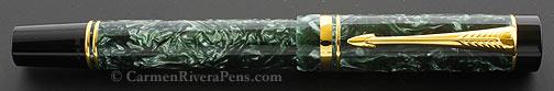 Parker Duofold Centennial Marbled Green Flat Top Fountain Pen - © carmenriverapens.com