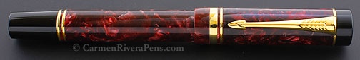 Parker Duofold Centennial Marbled Red Maroon Flat Top Fountain Pen