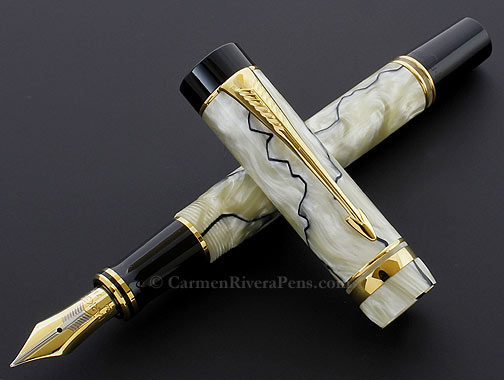 Parker Duofold Centennial Flat Top Pearl Black Fountain Pen