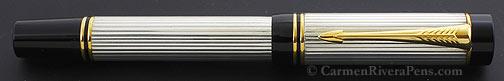 Parker Duofold Centennial Godron Sterling Silver Flat Top Fountain Pen