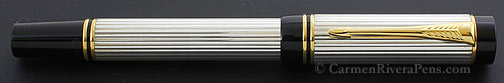 Parker Duofold International Godron Sterling Silver Flat Top Fountain Pen