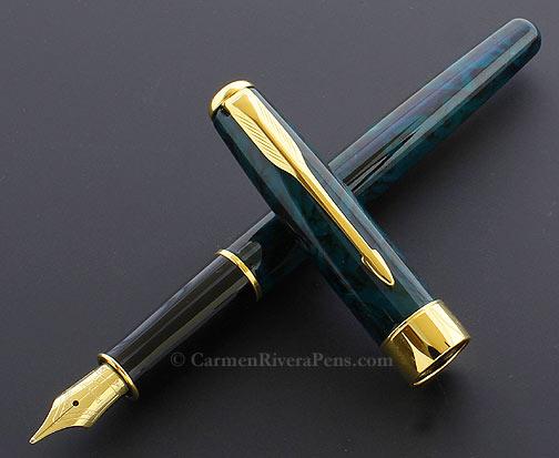 Parker Sonnet Premier Green Marble Lacquer Fountain Pen